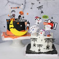 Wholesale cakes toppers resale online - Creative Cake Decoration Witch Bat Ghost Letter Happy Halloween Ccake Topper for Dessert Cupcake Hallowen Party Decor Supplies