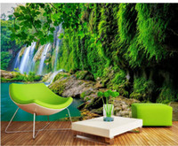 Wholesale live tv streams for sale - Group buy Mountain stream water waterfall green fresh TV background wall wallpaper for walls d for living room