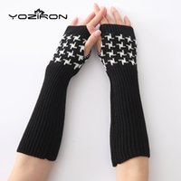 Wholesale white knit gloves for sale - Group buy YOZIRON Fashion Black White Long Women Winter Glove Adult Solid Knitted Elbow Mittens Fingerless Gloves Arm Warmers
