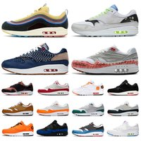 ingrosso sport max 87-Nike air max 1 in tartan da uomo 1 Anniversary Royal Patch Atomic Teal Parra Puerto Rico 87 air mens sneakers Sport outdoor 36-45