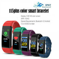Wholesale gps run tracker for sale – best ID115 PLUS Color Smart Bracelet Screen Bracelet Sports Pedometer Watch Fitness Running Tracker Heart Rate Pedometer Smart Wristbands