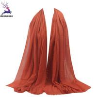 Wholesale paris shawls for sale - Group buy DOUDOULU Islam Muslim Women Viscose Maxi Crinkle Cloud Hijab Scarf Shawl Paris yarn Scarf Cachecol Bufanda Mujer WM