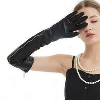 Wholesale women s leather opera gloves for sale - Group buy women cm quot long side real open full zipper style real leather long opera gloves black