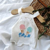 Wholesale ice cream dogs resale online - Summer Ice Cream Embroidery Dog Clothes Cute Sling Vest T shirt Clothes For Small Medium Puppy Yorkshire Shih Tzu Hairpin