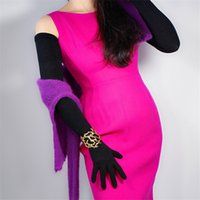 Wholesale arm warmers mittens for sale - Group buy LONG KNIT GLOVES cm quot Arm Warmer Opera Mittens Solid Black Schoolgirl Five Fingers Women s Knitted Long Gloves WMX01