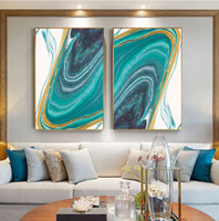 Wholesale three paintings wall art for sale - Group buy Gold and Blue Ink Bloom Modern Abstract Canvas Painting Nordic Posters and Prints Wall Art Pictures for Living room Home Decor