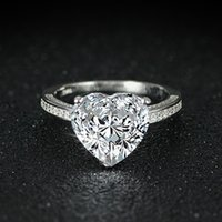 Wholesale heart cut wedding rings for sale - Group buy 2020 new arrival fashion sterling silver heart shape cut promise ring for Wedding Engagement love girl finger Jewelry R4325