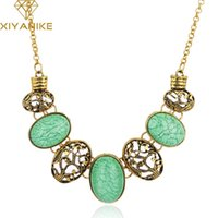 Wholesale shipping xy resale online - European and American style retro hollow oval exaggerated imitation gemstone necklace female XY N290