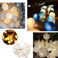 Wholesale ourdoor lights resale online - Led Light Garland Cotton Ball String Fairy Decoration Christmas Tree Diy Led Night Light Garland Ourdoor Room Christmas
