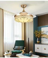 Wholesale lamp crown for sale - Group buy Luxury Inch ceiling fans with light gold color home fan lamp remote control gold Crown style ceiling fan lamp for living room