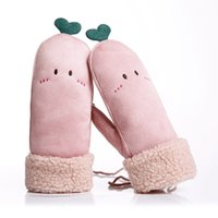 Wholesale coral gloves resale online - Women Warm Thick Winter Gloves Hang Neck Gloves Chamois Coral Fingerless Mittens Student for Gift
