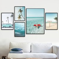 Wholesale sexy nude painting art for sale - Group buy Palm Tree Pineapple Sexy Girl Sea Beach Wall Art Canvas Painting Nordic Posters And Prints Wall Pictures For Living Room Decor
