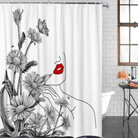 Wholesale red lip flowers for sale - Group buy Bathroom Waterproof Curtain Flower Daisy Female Line Red Lips Fabric Shower Curtain Home Bathroom Decor Christmas Shower