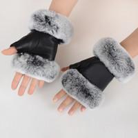 Winter Fashion Black Half Finger Genuine Leather Gloves Sheep Skin Fur Half Finger Fingerless Gloves Fur Mouth