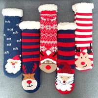 Wholesale 3d slipper socks for sale - Group buy Christmas Socks Elk Santa Claus Knit Women Thick Sherpa Fleece Lined Thermal Fuzzy Slipper D Animal Socks With Grippers