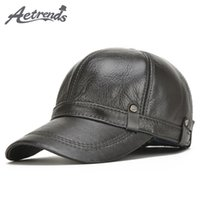 Wholesale leather baseball caps resale online - AETRENDS New Winter Men s Leather Baseball Cap Men Warm Hats with Ears Flap Z