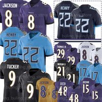 Wholesale 8 Lamar Jackson Jerseys Derrick Henry Baltimore Ravens Tennessee Titan Justin Tucker Patrick Queen Marquise Brown