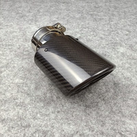 One Piece Oval Model Akrapovic Car Exhaust Pipe Glossy Carbon Fiber + Stainless Steel Tips Muffler End Pipes