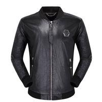 Wholesale men motorcycle jackets resale online - Black Biker skulls Faux Leather Jackets for Men Coats Zipper Slim Fit Short hip hop Casual Motorcycle Coats Male Tops Fitness clothing M XL