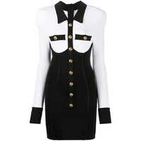 New Autumn Winter Women Runway Dresses Lapel Neck Long Sleeve Black White Panelled Lion Head Button Knitted Dress Sexy Sheath Slim Dress H30