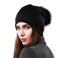 Wholesale oversized beanie for sale - Group buy Fashion Women Knit Winter Warm Beanies Hats Raccoon Fur Minkcotton Big pompom cap Hat Cap Beanie Oversized