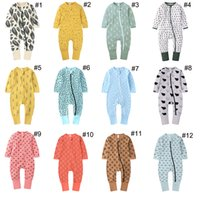 Wholesale newborn baby boy bodysuits for sale - Group buy 24 Styles Baby Girl Boy Romper Clothes Dinosaur Leaf Print Bodysuits For Newborn Kids Long Sleeve Zipper Cotton Jumpsuits Clothing M2811
