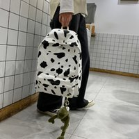 Wholesale cute bags set for girls for sale - Group buy 2pcs set Cute Milk Cow Printing Backpack Women Canvas Travel Mochila School Bag For Teenager Girls Fashion Rucksack