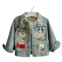 Wholesale girls jackets embroidered resale online - New Autumn Children Clothing Girls Denim Jacket Baby Girl Outerwear Coat Jackets Kids Tops Jeans Wear Denim Embroidered Mermaid Y200831
