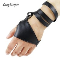 Wholesale punk leather gloves for sale - Group buy LongKeeper Women Fingerless Gloves PU Leather Dancing Gloves Non Slip Palm Belt Up Half Finger Punk Show Fashion Guante Luvas