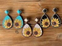 Wholesale turquoise dangling earrings resale online - Turquoise Sunflower Earring Hot sale Vintage Water Drop turquoise Earrings Sunflower Dangle Women Charm Jewelry Christmas Gift