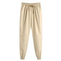 Hadara Casual Elastic Waist Pants Women Fashion PU Leather Trousers Women Elegant Loose Ankle Banded Pants Female Ladies IJ