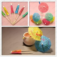 Wholesale cocktail parasol drink umbrellas for sale - Group buy 144pcs set Paper Cocktail Parasols Umbrellas Drinks Picks Wedding Event Party Supplies Holidays Cocktail Garnishes Holders Fast Shipping