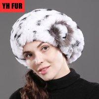 Wholesale cap rex resale online - 2020 New Lady Beret Caps Knitted Real Rex Fur Beanies Hat Women Winter Rex Fur Hats Real Cap
