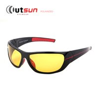 Wholesale mens night sunglasses resale online - OUTSUN New Mens Polarized Night Driving Sunglasses Brand Yellow Lense Night Vision Driving Glasses Goggles Reduce Glare