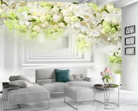 Wholesale fragrant white flowers for sale - Group buy 3d Wallpaper Wall Promotion d Wallpaper Fragrant White Flowers Expanding Space Romantic Flora Decorative Silk d Mural Wallpaper