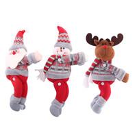 Wholesale doll window resale online - Christmas Decorations Christmas Dolls Christmas Tree Curtain Curtain Buckle Holiday Window Scene Layout Cartoon Doll Buckle HHF1704