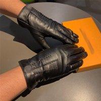 Wholesale warm mens gloves for sale - Group buy Designer L Letter GoatSkin Mens Gloves Fashion Warm Five Fingers Gloves Luxury Black Breathable Mittens Ins Hot Elegant Mittens
