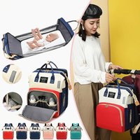 Wholesale girls fashion handbag baby resale online - Diaper Bag Multifunctional Baby Folding Bed Bags Moms and Dad Backpack Maternity Nursing Handbag Stroller Bag Drop Shipping