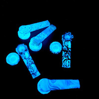 Wholesale bowls resale online - Luminous Patterned Hand Pipe Glow In The Dark Silicone Pipe Glass Bowl Dab Pipe quot Environmentally FDA Silicone Water Bong