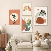 Wholesale 16x20 canvas frame resale online - Modern Abstract Boho Style Leaves Geometric Canvas Painting Poster Print Wall Art Picture Bedroom Interior Home Decor NO FRAME