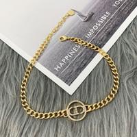 D Home 2020 New CD letter bracelet necklace female Dijia Internet celebrity Diamond-embedded CD letter bracelet earrings