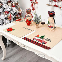 Wholesale place holders for sale - Group buy Christmas Table Mat Linen Christmas Flower Place Mat Creative Tableware Mats Holder Christmas Table Decoration For Home CM DHD1239
