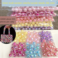 çok renkli torbalar toptan satış-7Yeql Korean Candy beads colorful multi-section Earth inner candy color colored beads children's hair rope headdress handmade beaded bag mat