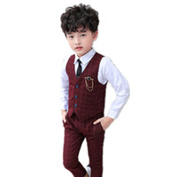 Wholesale spring vest for baby boy for sale - Group buy Kids Formal Suit Plaid Vest Pants Outfits for Wedding Party Costume Spring Fashion Flower Baby Boys Clothing Set