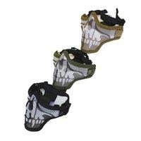 Wholesale steel mesh half face mask resale online - V2 Spina Optics Double Belt Skull Metal Tactical Cs War Game Army Steel Mesh Half Face Mask for Paintball Airsoft