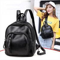 Wholesale pretty black backpacks for women resale online - Women Backpack PU Leather Female Casual Students School Bags For Teenagers Girls Pretty Small Black Fashion Backpacks