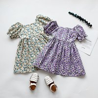 Wholesale baby girl bubble shorts for sale - Group buy Girlsfloral new summer French baby pastoral Princess dressDress dressstyle baby girl bubble sleeve short sleeve princess dress Ll4d