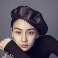Wholesale leather hats for women for sale - Group buy jiangxihuitian Brand Fashion Felt Pu Leather Beret Hat Women Cap Female Ladies Beanie Beret Girls For Spring And Autumn