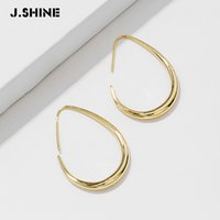 Wholesale new punk earrings resale online - JShine New Fashion Brand Copper Charm Arc Shape Metal Hoop Earrings Minimalist Punk Statement Pendientes Mujer Moda