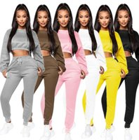 Wholesale long sleeve motorcycle shirts for sale - Group buy Women Outfits Two Pieces Set Designer Lantern Long Sleeve T Shirt Bodysuit Tracksuit Sportsuit Long Pants Sport Suit Solid Color
